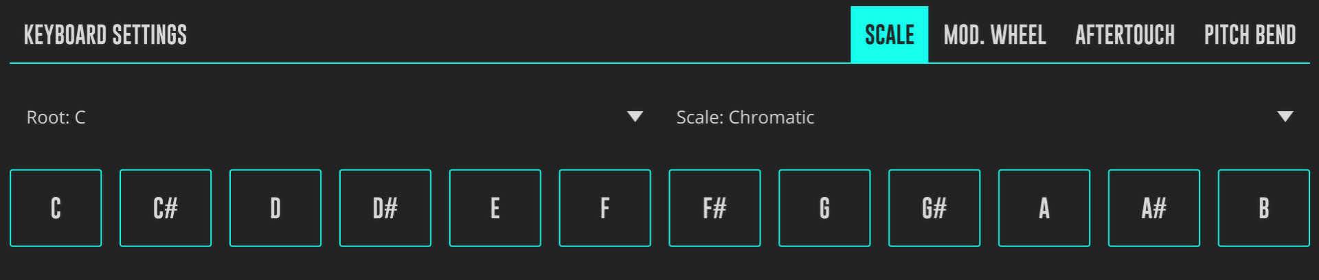 DRC Keyboard Scale Configuration