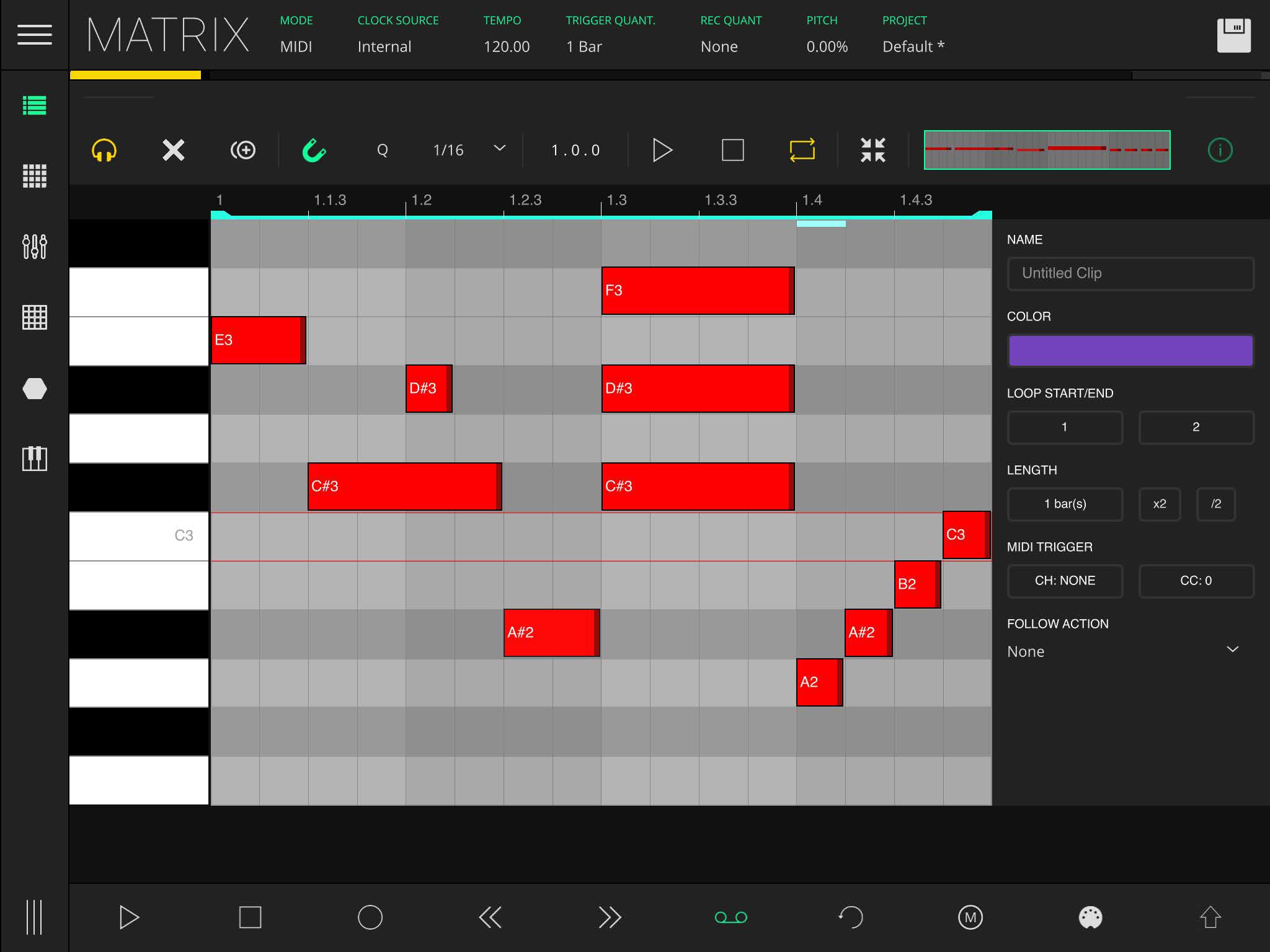 LK Matrix Module clip composer properties panel