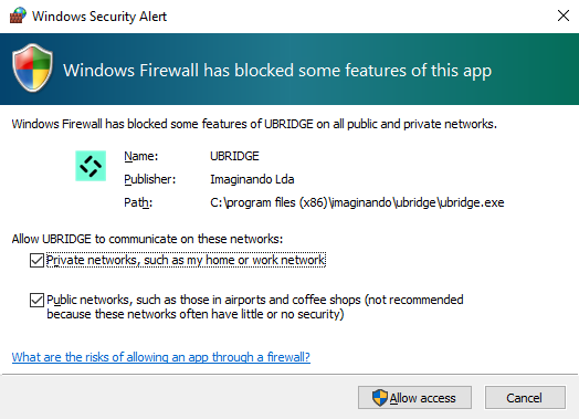 UBRIDGE firewall settings prompt