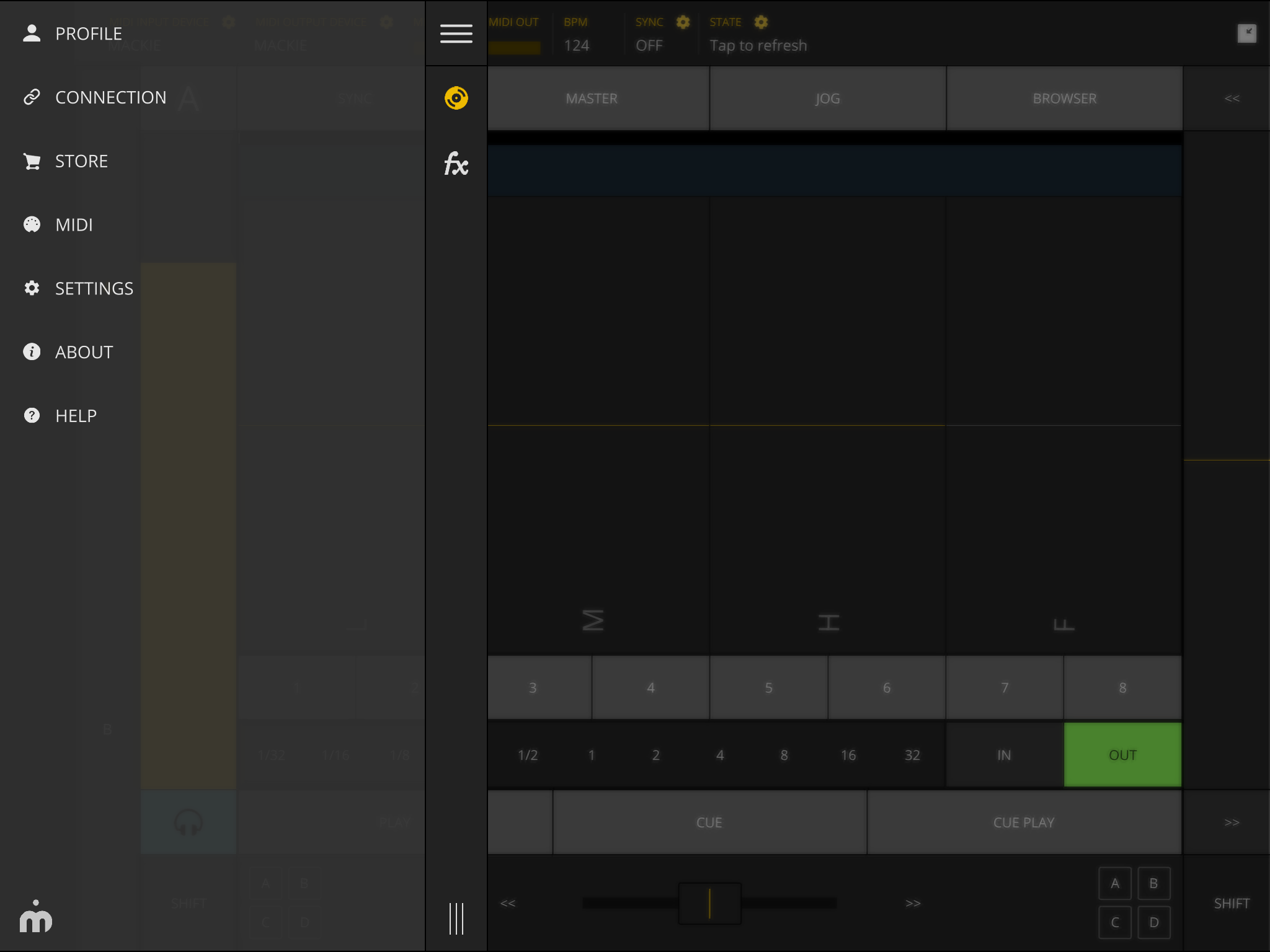 TKFX Traktor Controller settings menu